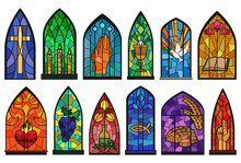 Church Windows Cartoon Set Icon. Isolated Cartoon Set Icon Cathedral Mosaic.Vector Illustration Church Windows On White Background.
