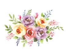 Watercolor Bouquet. Flowers, L...