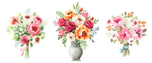 Watercolor Bouquets Set. Flowe...