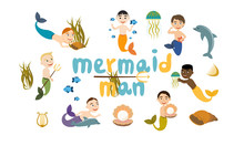 Set Of Mermaids Man. Merman Get Pearls, Play With Dolphins, Swim, Holds A Trident. Cute Vector Collection