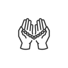 Praying Hands Holding Rosary T...