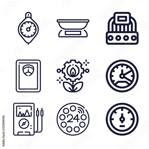 Set of 9 approximate lineal icons Wallpaper Mural