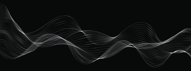 modern abstract wave lines on black background vector