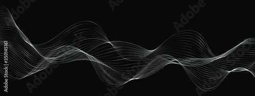 modern abstract wave lines on black background vector Fototapet