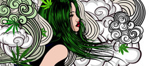 Woman With Hair And Wind. Cannabis Leafs In Her Hair. Smoke Cannabis On The Background.