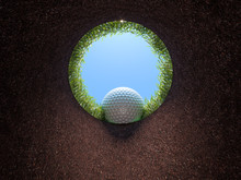 Golf Hole, View From Inside, Ball Falling.