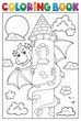 Coloring book dragon on tower image 1