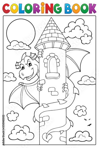 Obraz Coloring book dragon on tower image 1 - fototapety do salonu