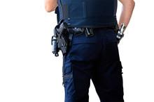 Policeman With Gun Belt. Cutout
