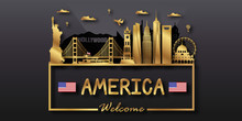 USA America Travel Postcard, P...