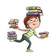 canvas print picture - Little boy juggling many books