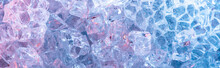 Top View Of Abstract Blue Crystal Textured Background, Panoramic Shot