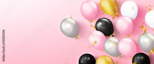 Fototapeta Colored balloons and flying golden serpentine on pink background.Template design for postcard, flyer,banner, invitation.Vector illustration obraz