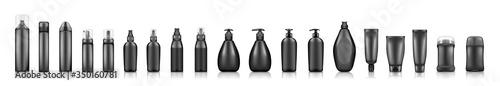 Fototapeta Black cosmetic bottles mockups on white background: soap, shampoo, lotion, deodorant, hairspray. Plastic package design. Blank cosmetic, hygiene and skin care template. Set of 3d vector illustrations obraz