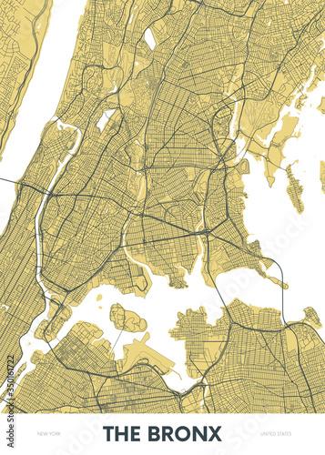 фотографія Detailed borough map of The Bronx New York city, color vector city street plan,