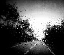Rain Drops At Window Of Car