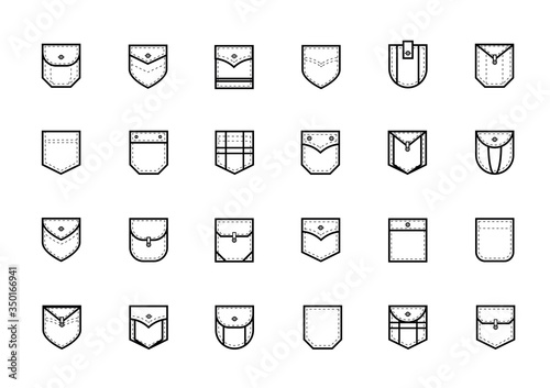 Photo Patch Pocket Style Vector Line Icon Set