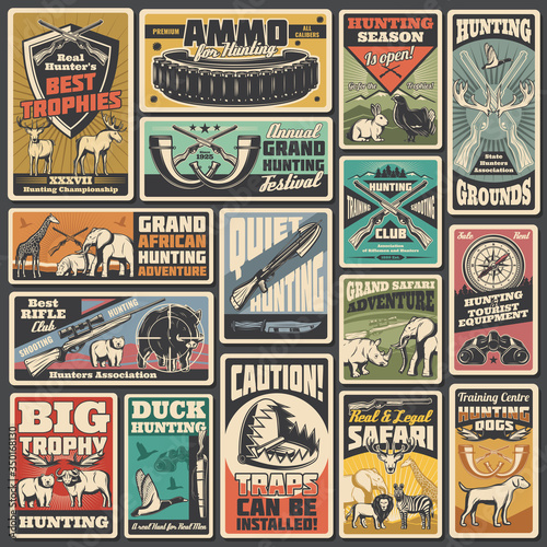 Fototapeta Hunting ammunition and weapon, retro vector posters