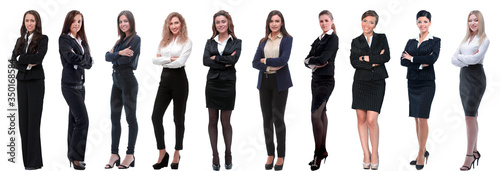 Obraz panoramic collage of a group of successful young business women. - fototapety do salonu