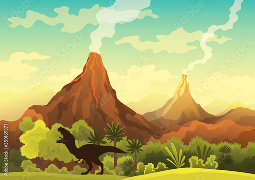 Prehistoric landscape - volcano with smoke, mountains, dinosaurs and green vegetation Fototapet