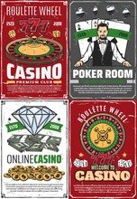 Casino Fortune Roulette And Croupier Retro Posters. Vector Poker Room, Gambling Game Vintage Grunge Cards, Online Royal Casino, Wheel Of Lucky And 777 Jackpot, Golden Coins And Bills, Premium Club
