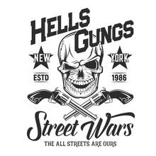 Skull With Guns T-shirt Print ...