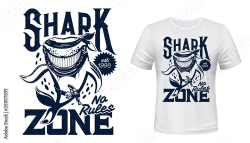 T-shirt print with shark, vector animal ascot for scuba diving club, sea predator animal with gun, skull belt and blue text on white apparel Canvas Print