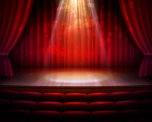 Stage With Red Curtains, Spotlight And Seats Vector Background Of Theater Or Theatre, Cinema, Movie, Opera And Concert Hall. Empty Performance Scene, Velvet Draperies And Backdrop, Stage Light, Chairs