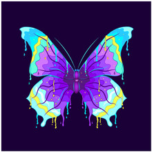 Butterfly Dripping Paint On A Black Background. Wall Stickers