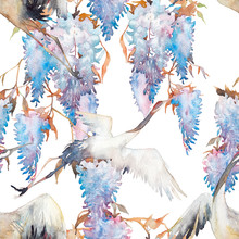Seamless Pattern With Cranes And Wisteria. Bird And Flowers Wallpaper Design.