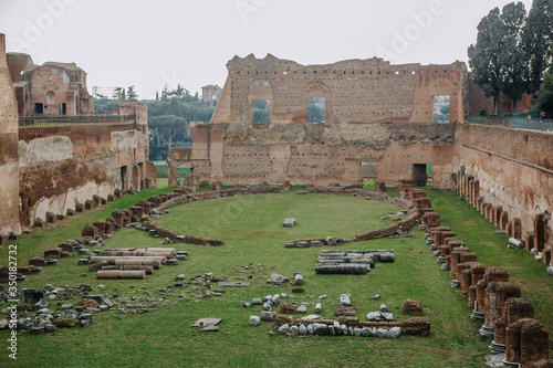 Fotografie, Obraz Ruins of ancient Stadium Domitian on the Palatine Hill in Rome, Italy