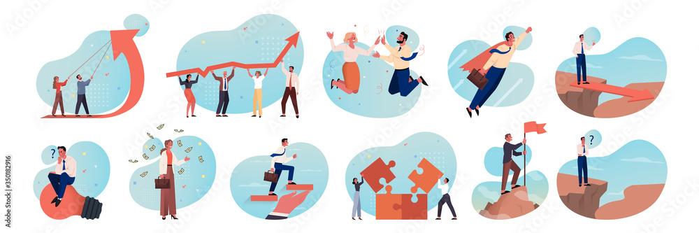 Fototapeta Business, motivation, coworking, teamwork, career, brainstorming set concept. Business people, business men and women coworkers. Teamwork, brainstorming, profit growth, motivation idea, team success