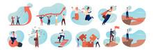 Business, Motivation, Coworking, Teamwork, Career, Brainstorming Set Concept. Business People, Business Men And Women Coworkers. Teamwork, Brainstorming, Profit Growth, Motivation Idea, Team Success