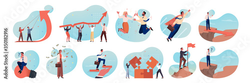 Obraz Business, motivation, coworking, teamwork, career, brainstorming set concept. Business people, business men and women coworkers. Teamwork, brainstorming, profit growth, motivation idea, team success - fototapety do salonu