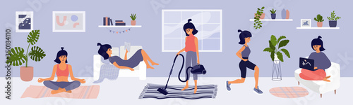 Stampa su Tela Young woman spending time at home