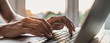 Man hands typing on computer keyboard closeup, businessman or student using laptop at home, panoramic banner, online learning, internet marketing, working from home, office workplace freelance concept