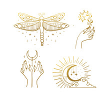 Set Of Beautiful Golden Mystic...