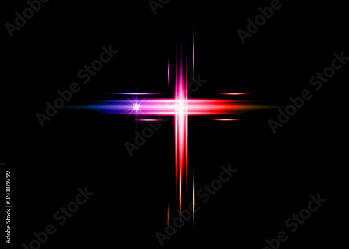 Fotografiet cross of light, shiny colorful laser Cross symbol of christianity