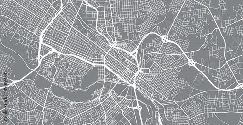 Canvas Print Urban vector city map of Richmond, USA. Virginia state capital