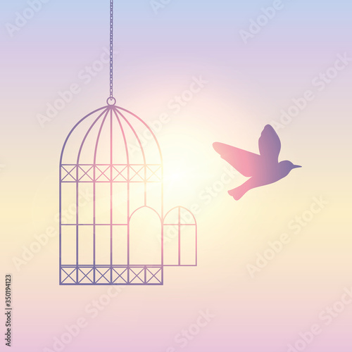 Tela bird flies out of the cage into the sunny sky vector illustration EPS10