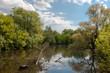 jedna z większych rzek Polski, rzeka Bug,  wspaniała dzika przyroda, błękitne niebo z malowniczymi obłokami