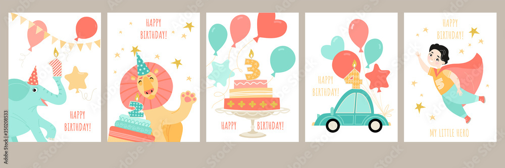 Fototapeta A set of birthday cards for a boy's birthday with a cute cartoon superhero, little animals, a car and cakes with candles