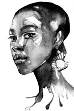 Beautiful African American Black Woman Portrait In Watercolor With Splatter Black And White