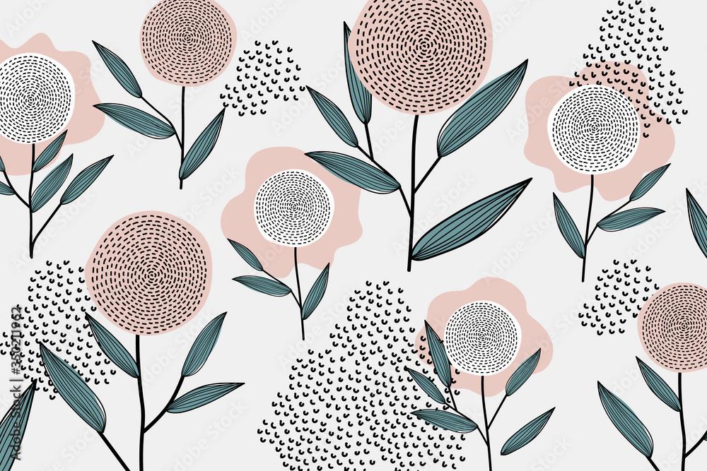 Fototapeta Retro floral wallpaper
