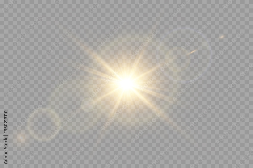 Fototapeta Vector transparent sunlight special lens flare light effect.
