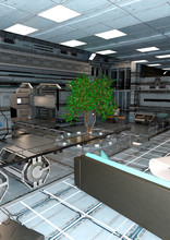 3D Rendering Space Ship Indoor