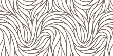 Elegant Seamless Floral Pattern. Wavy Vector Abstract Background. Stylish Modern Monochrome Linear Texture.