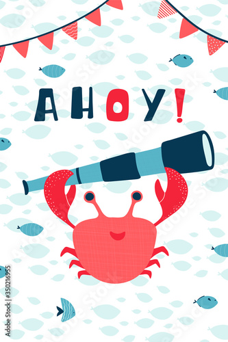 Children's sea poster with crab, telescope and handwritten lettering Ahoy in cartoon style Wallpaper Mural