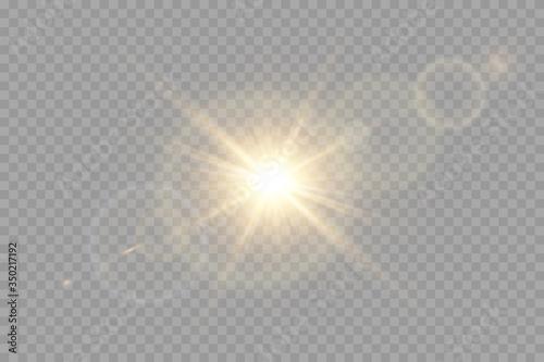 Vector transparent sunlight special lens flare light effect. Canvas Print