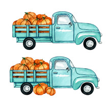 Watercolor Illustration Of Autumn Harvest Pickup Truck With Pumpkins Isolated On A White Background.